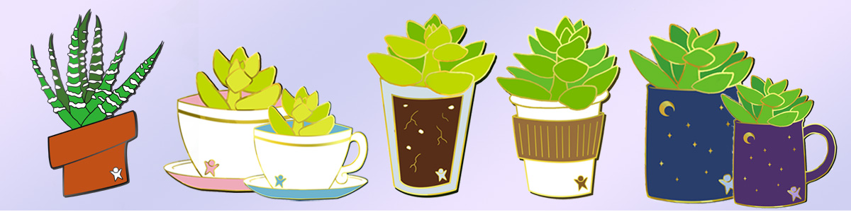 Banner of 7 plant pin designs. From left to right: zebra plant in a red pot, golden sedums in blue and pink teacups, sedum in a glass, sedum in a paper coffee cup, and 2 sedums in blue and purple mugs