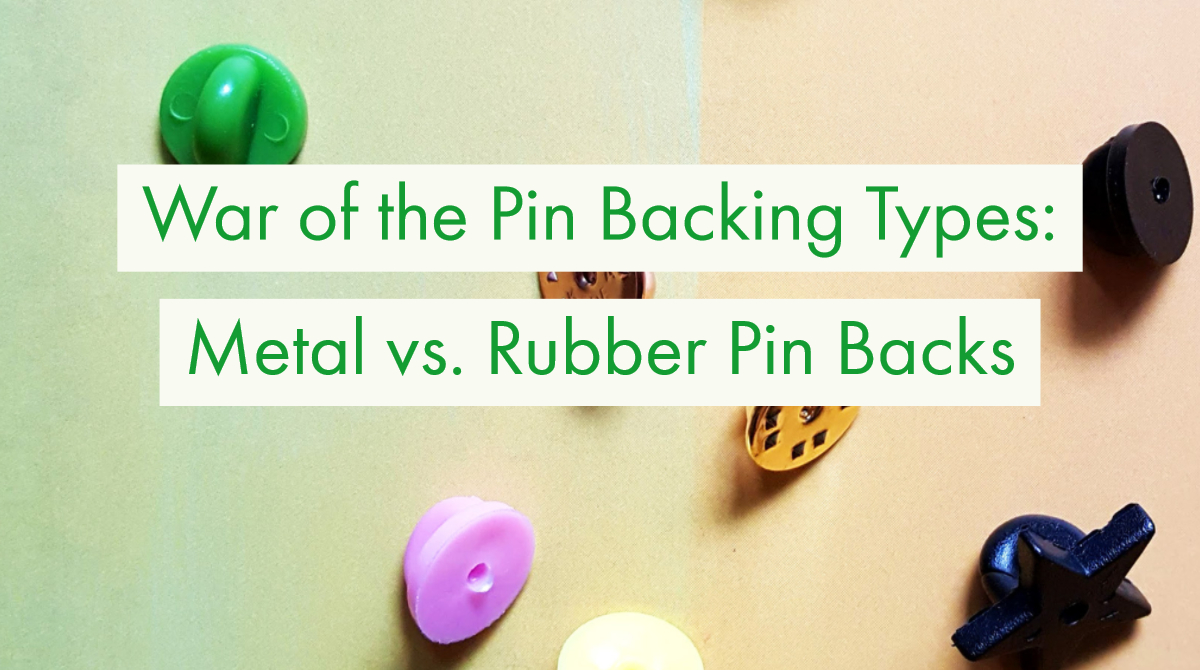 Pin Backing Types Title displayed over image of scattered pin backings